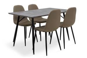 Τραπεζαρία Conor pakoworld σετ 5τμχ γκρι MDF-κάθισμα μπεζ ύφασμα 130x80x75,5εκ.
