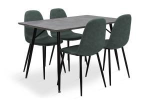Τραπεζαρία Conοr pakoworld σετ 5τμχ γκρι MDF-κάθισμα antique πετρόλ pu 130x80x75,5εκ.