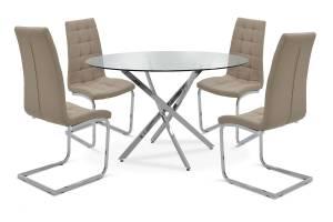Τραπεζαρία Steve σετ 5τμχ διάφανο γυαλί-κάθισμα μόκα pu Φ120x74,5εκ