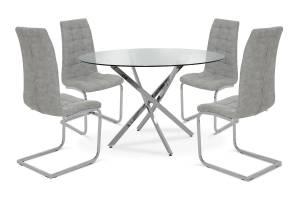 Τραπεζαρία Steve pakoworld σετ 5τμχ διάφανο γυαλί-κάθισμα antique γκρι pu Φ120x74,5εκ