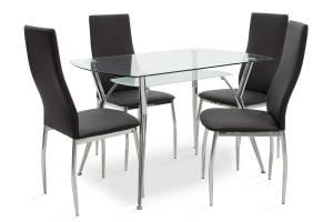 Τραπεζαρία Jacob-Jella pakoworld σετ 5τμχ διάφανο γυαλί-κάθισμα μαύρο pu 120x75x75,5εκ