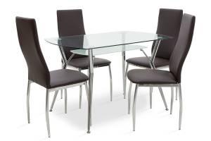 Τραπεζαρία Jacob-Jella pakoworld σετ 5τμχ διάφανο γυαλί-κάθισμα καφέ pu 120x75x75,5εκ