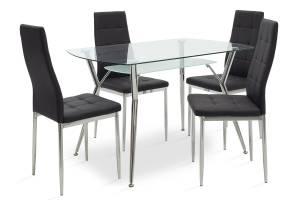 Τραπεζαρία Jacob pakoworld σετ 5τμχ διάφανο γυαλί-κάθισμα μαύρο pu 120x75x75,5εκ