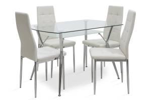 Τραπεζαρία Jacob pakoworld σετ 5τμχ διάφανο γυαλί-κάθισμα λευκό pu 120x75x75,5εκ
