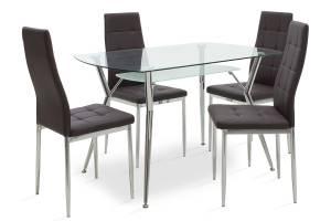Τραπεζαρία Jacob pakoworld σετ 5τμχ διάφανο γυαλί-κάθισμα καφέ pu 120x75x75,5εκ