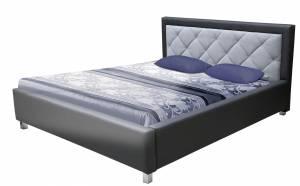 Επενδυμένο κρεβάτι 140 x 200-Gkri skouro - Gkri anoixto-Χωρίς μηχανισμό ανύψωσης