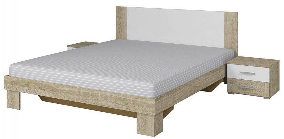 Κρεβάτι με 2 κομοδίνα -160Χ200-Λευκό/Φυσικό