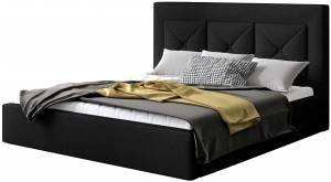Επενδυμένο κρεβάτι 160 x 200-Μαύρο-Χωρίς μηχανισμό ανύψωσης