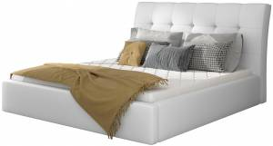Επενδυμένο κρεβάτι 140 x 200-Λευκό-Χωρίς μηχανισμό ανύψωσης