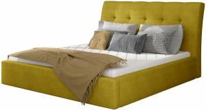 Επενδυμένο κρεβάτι 140 x 200-Κίτρινο-Χωρίς μηχανισμό ανύψωσης