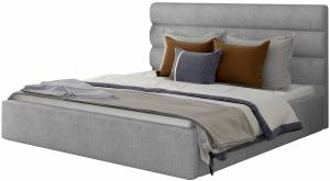 Επενδυμένο κρεβάτι 140 x 200-Γκρι-Χωρίς μηχανισμό ανύψωσης