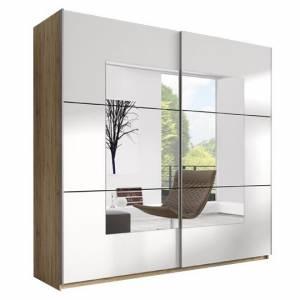 Ντουλάπα Συρόμενη 180 x 61 x 210 εκ.-Φυσικό / Λευκό