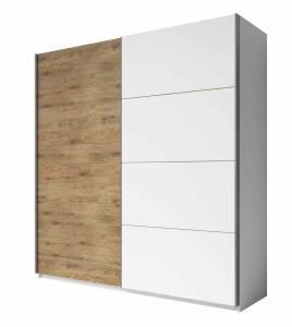 Ντουλάπα Συρόμενη -200 x 61 x 210 εκ.-Λευκό - Φυσικό