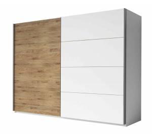 Ντουλάπα Συρόμενη -270 x 61 x 210 εκ.-Λευκό - Φυσικό