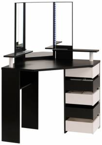 Γωνιακή Τουαλέτα με Καθρέπτη-Μαύρο - Λευκό