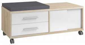 Συρταριέρα με Κάθισμα-Μαξιλάρι-Φυσικό - Λευκό