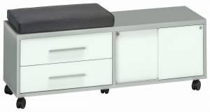 Συρταριέρα με Κάθισμα-Μαξιλάρι-Γκρι - Λευκό