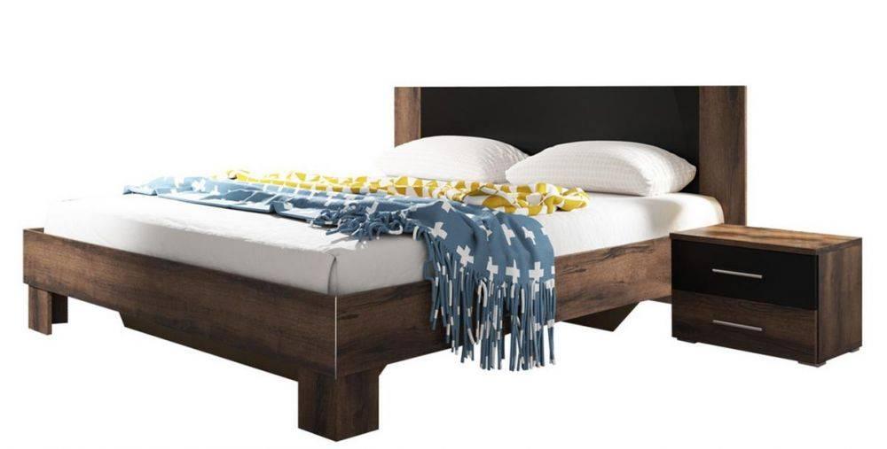 Κρεβάτι με 2 κομοδίνα -160x200-Καρυδί Σκούρο