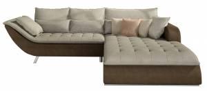Γωνιακός καναπές -Δεξιά-Καφέ - Μπεζ