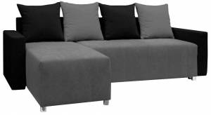 Γωνιακός καναπές -Γκρι - Μαύρο