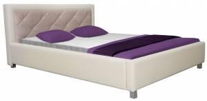 Επενδυμένο κρεβάτι -160 x 200-Λευκό - Ροζ-Χωρίς μηχανισμό ανύψωσης