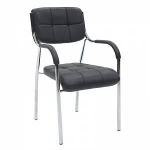 Καρέκλα γραφείου επισκέπτη με PVC χρώμα μαύρο