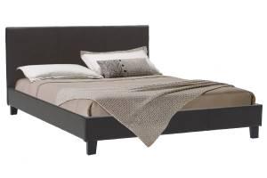 Κρεβάτι διπλό 150x200 PU σκούρο καφέ ματ με ανατομικές τάβλες