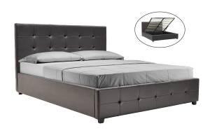 Κρεβάτι διπλό 160x200 PU σκούρο καφέ ματ+αποθηκευτικό χώρο ανατομικές τάβλες
