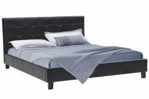 Κρεβάτι διπλό 160x200 PU χρώμα μαύρο ματ με ανατομικές τάβλες