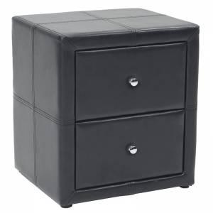 Κομοδίνο με δύο συρτάρια PU χρώμα μαύρο ματ 47x42x53εκ