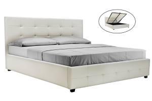 Κρεβάτι διπλό 160x200 PU λευκό ματ+αποθηκευτικό χώρο με ανατομικές τάβλες