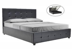 Κρεβάτι διπλό 160x200 PU μαύρο ματ + αποθηκευτικό χώρο με ανατομικές τάβλες