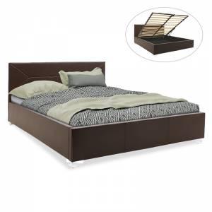 Κρεβάτι διπλό pu σκούρο καφέ με αποθηκευτικό χώρο 160x200εκ