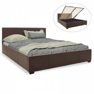 Κρεβάτι διπλό pu σκούρο καφέ ματ με αποθηκευτικό χώρο 160x200εκ