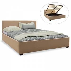 Κρεβάτι διπλό ύφασμα μπεζ με αποθηκευτικό χώρο 160x200εκ