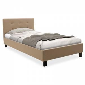 Κρεβάτι μονό ύφασμα μπεζ 100x200εκ