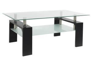 Τραπέζι σαλονιού γυαλί χρώμα ποδιών wenge 100x60x42,5εκ