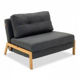 Πολυθρόνα - κρεβάτι με ύφασμα ανθρακί 96x92x70εκ