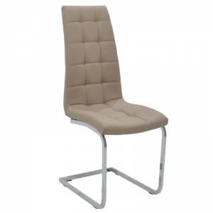 Καρέκλα μεταλλική χρωμίου με PU μόκα
