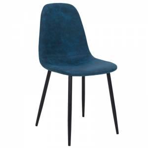 Καρέκλα μεταλλική μαύρη με pu antique σκούρο μπλε