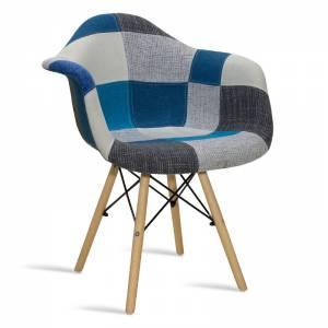 Πολυθρόνα Julita pakoworld ύφασμα patchwork μπλε-γκρι