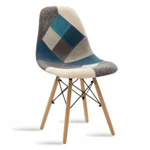 Καρέκλα πολυπροπυλενίου-ύφασμα patchwork μπλε γκρι - φυσικό