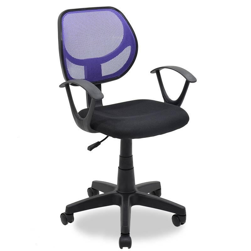 Καρέκλα γραφείου εργασίας με ύφασμα mesh χρώμα μαύρο-μωβ