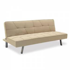Καναπές-κρεβάτι 3θέσιος με ύφασμα μπεζ 175x83x74εκ
