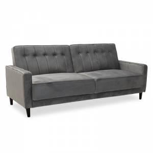 Καναπές - κρεβάτι 3θέσιος με βελούδο ασημί-γκρι 205x86x85εκ