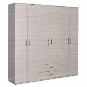 Ντουλάπα ρούχων εξάφυλλη με συρτάρια χρώμα light sonoma 206x52x213εκ