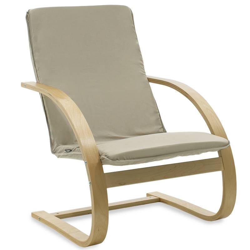 Πολυθρόνα σε ανοιχτό λαδί ύφασμα και καρυδί ξύλο