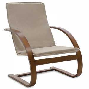 Πολυθρόνα σε μόκα ύφασμα και καρυδί ξύλο