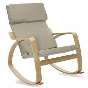 Πολυθρόνα κουνιστή σε ανοιχτό λαδί ύφασμα και φυσικό ξύλο