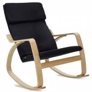 Πολυθρόνα κουνιστή σε μαύρο ύφασμα και φυσικό ξύλο